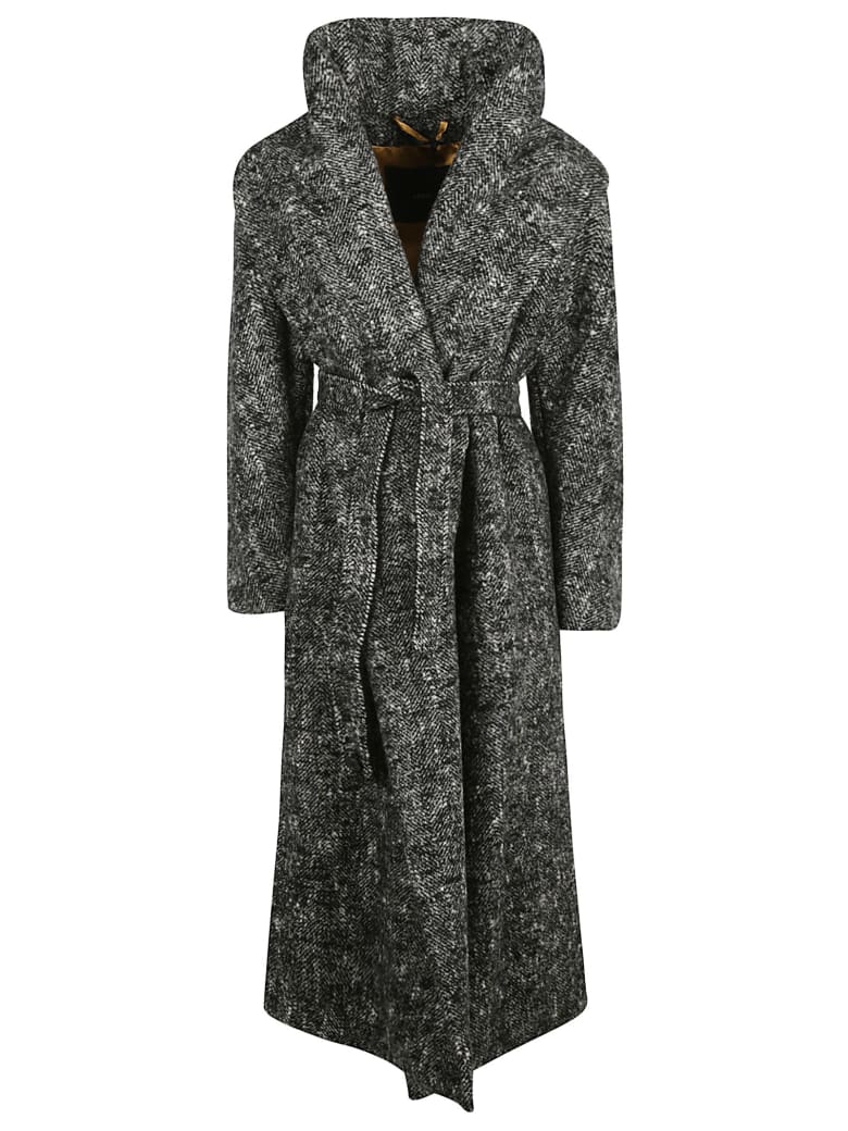 Max Mara High-waist Long Wrapped Coat - Grey