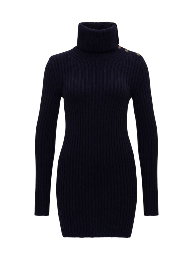 Saint Laurent Knitted Mini Dress With Cowl Neck And Buttons - Blu