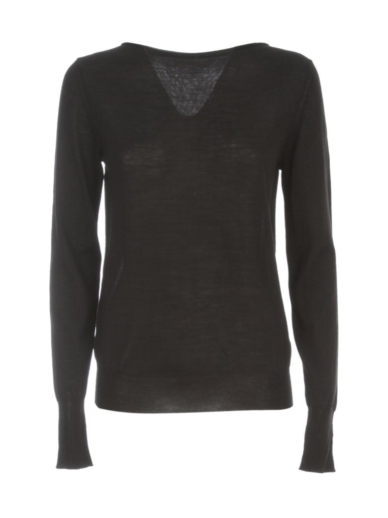Nuur Boat Neck 100% Merino Wool Sweater - Nero
