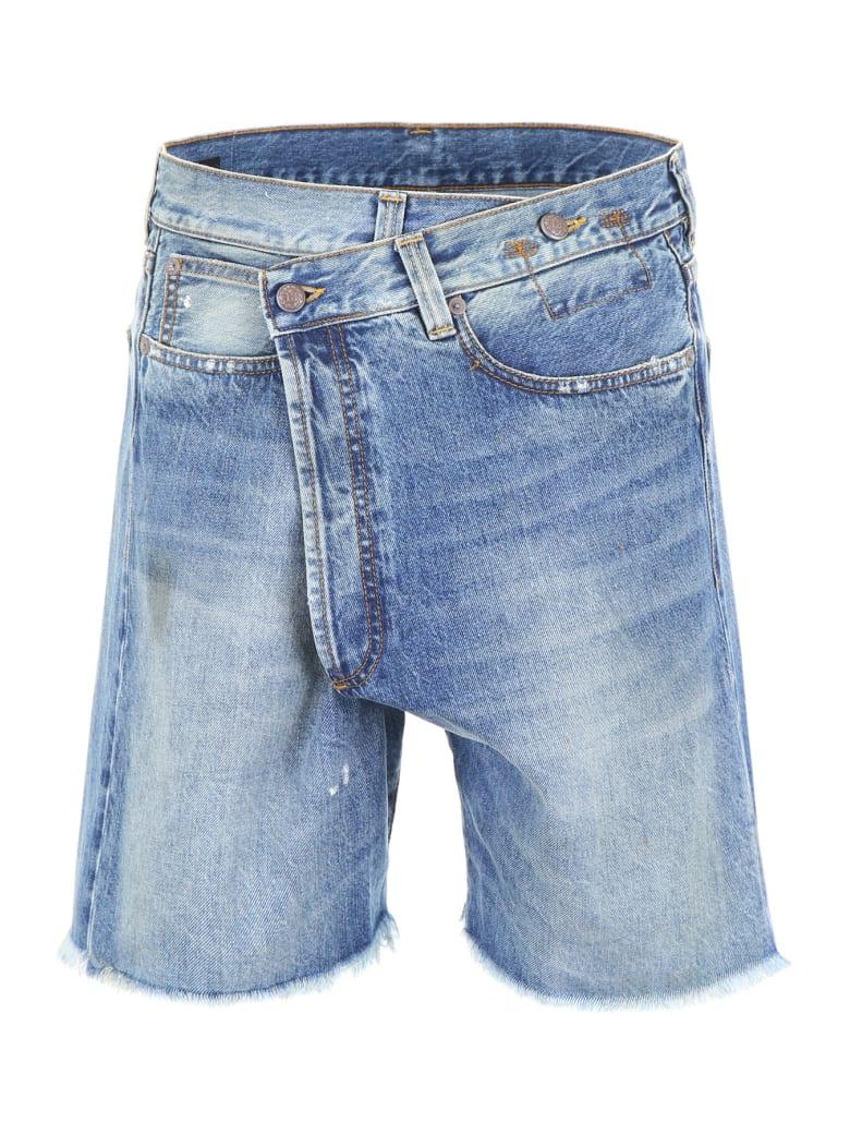 R13 Cross-over Denim Shorts - JASPER W PAINT SMUDGE (Blue)