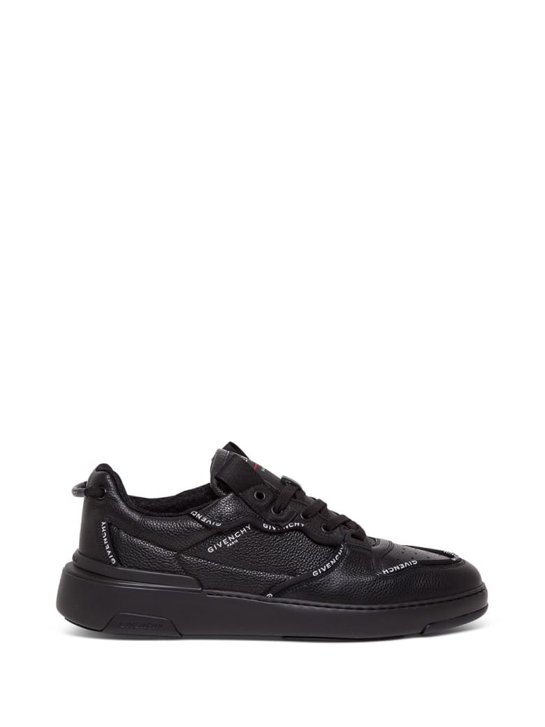 Givenchy Black Leather Sneakers With Contrasting Logo - Nero