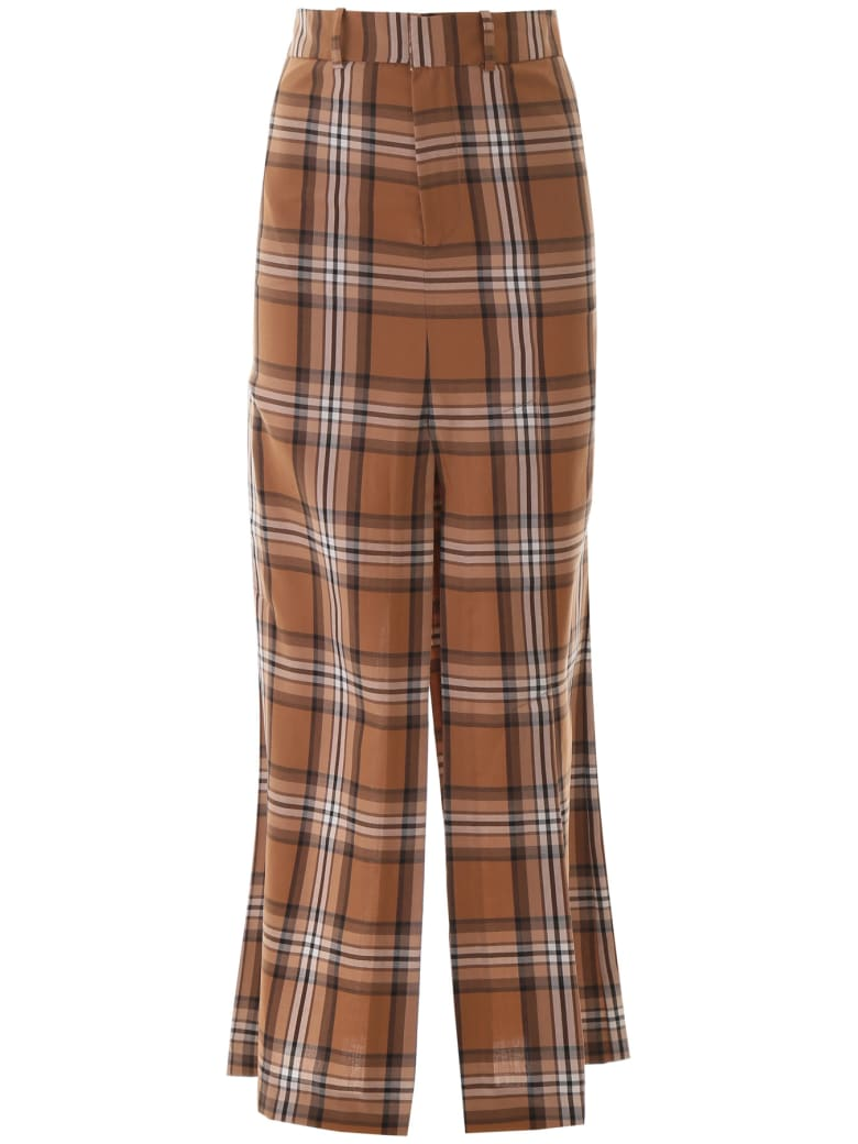 A.W.A.K.E. Mode Checkered Pant Skirt - BROWN BEIGE WHITE CHECK (Brown)