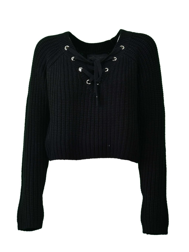 Kendall + Kylie Lace-up Cropped Sweater - Blk Black