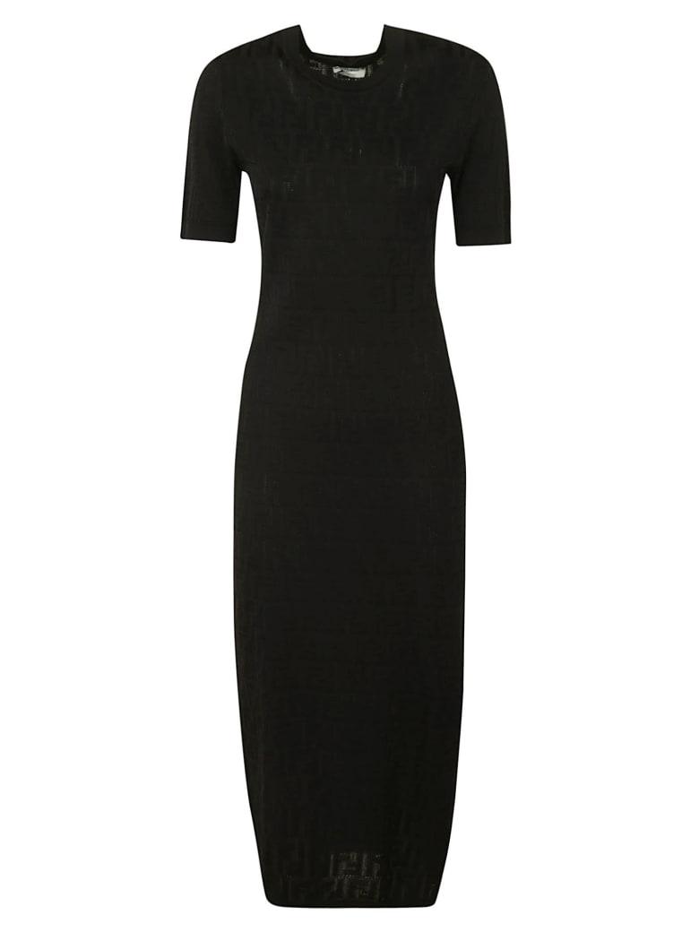 Fendi Short-sleeve Long Dress - Black