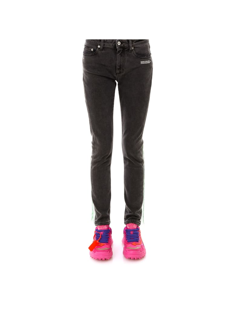 Off-White Embroidery Skinny Denim Jeans - Grey