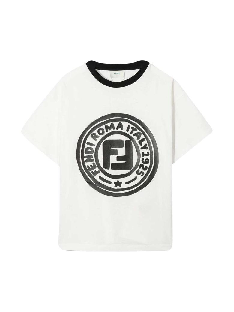 Fendi White T-shirt With Logo - Bianco