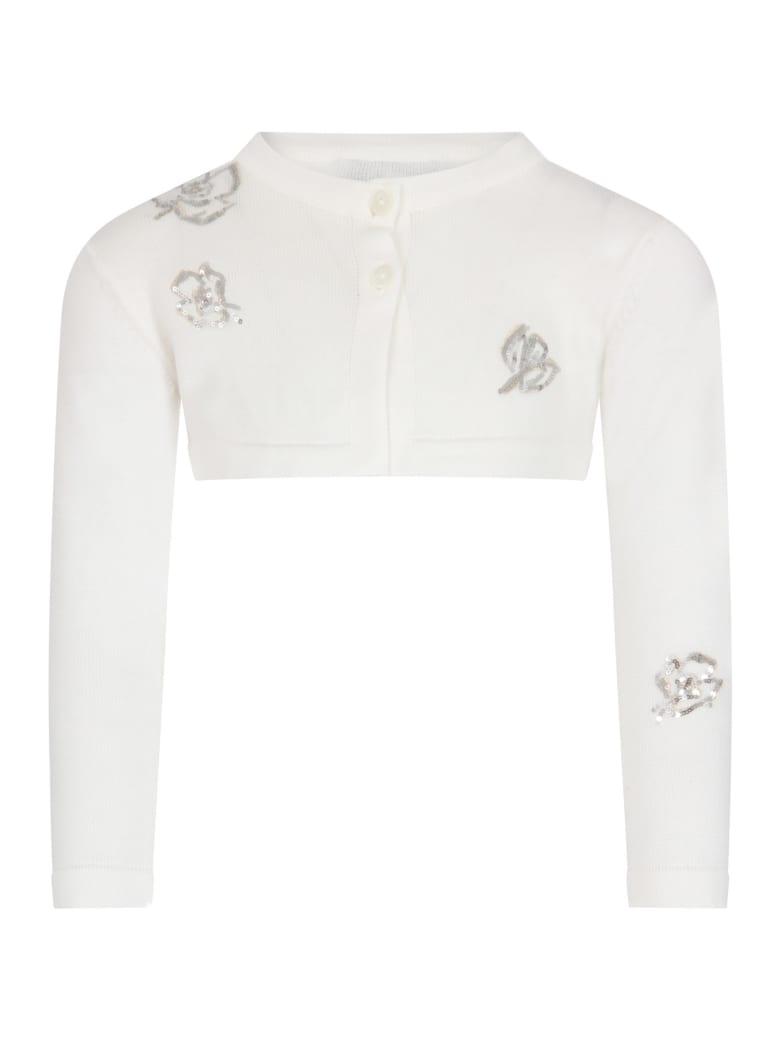 Simonetta White Cardigan For Girl With Flowers - White