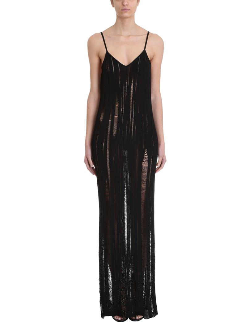Balmain Black Cotton Long Dress - black