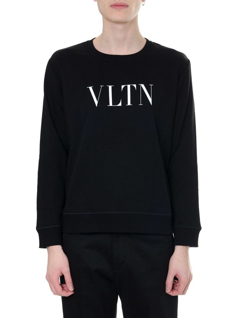 Valentino Black And White Vltn Sweatshirt In Cotton - Black