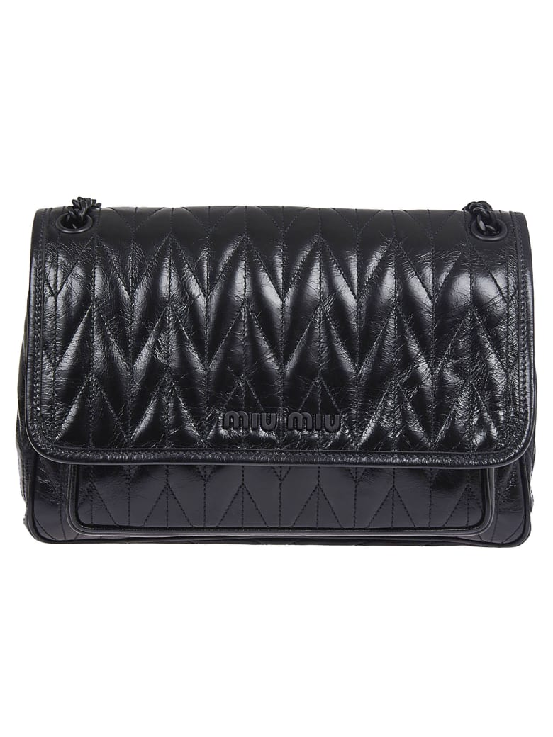 Miu Miu Logo Detail Quilted Flap Shoulder Bag - Nero