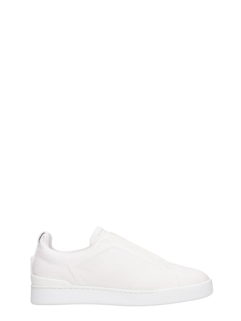 Ermenegildo Zegna Slip On Triple Stick White Leather Sneakers - white