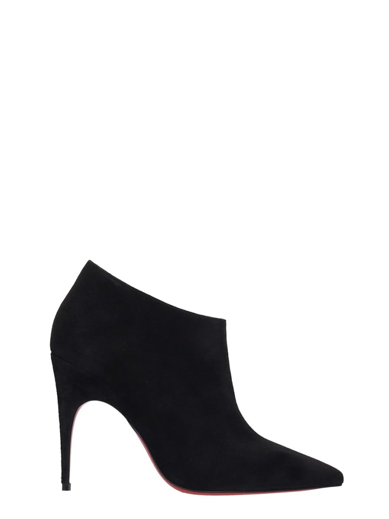 Christian Louboutin Gorgona 100 High Heels Ankle Boots In Black Suede - black