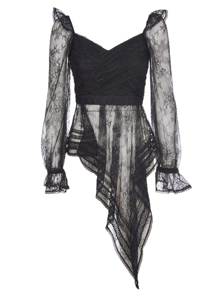 self-portrait Black Top With Lace - Black