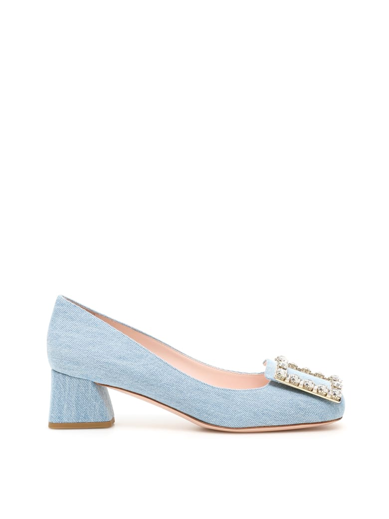 Roger Vivier Tres Vivier Pumps 45 Crystal Buckle - AIR (Light blue)