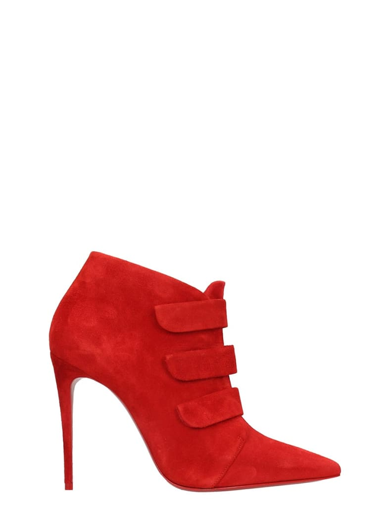 Christian Louboutin Triniboot 100 High Heels Ankle Boots In Red Suede - red
