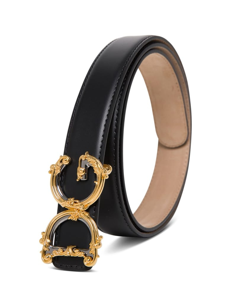 Dolce & Gabbana Leather Belt With Dg Buckle - Black