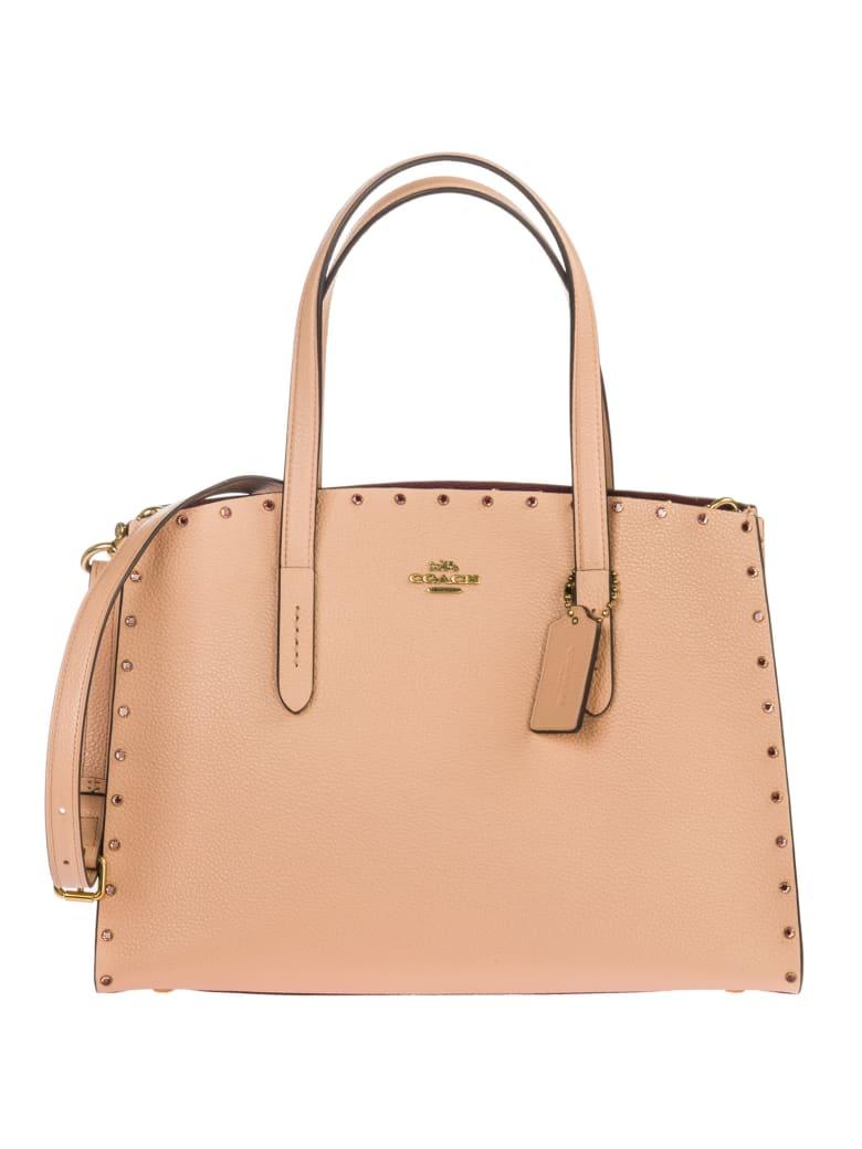 Coach  Leather Handbag Shopping Bag Purse Charlie - Rosa