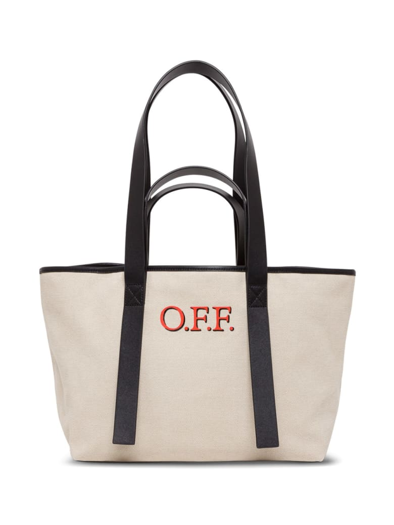 Off-White Tote Commercial Shopper In Canvas - Beige