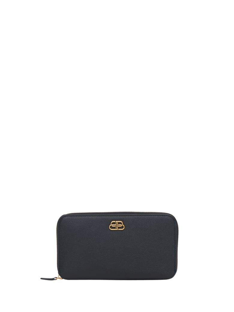 Balenciaga Bb Continenatl Zip Around Wallet - Nero