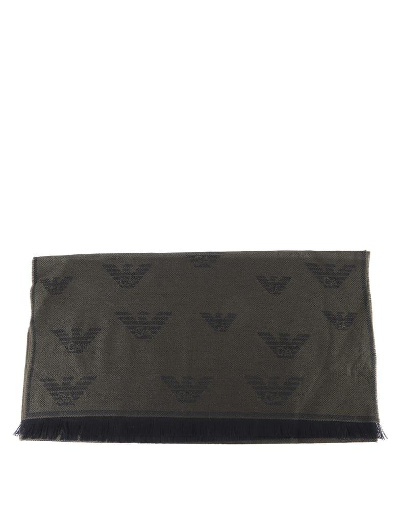 Emporio Armani Monogram Scarf In Wool Blend - Military green