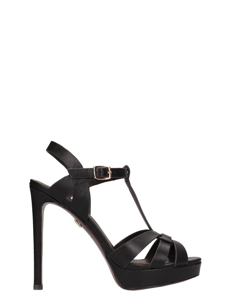 Lola Cruz Black Leather Sandals - black