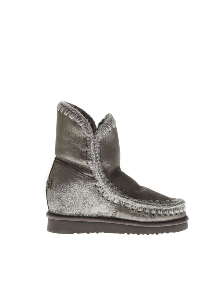 Mou Eskimo Light Silver Wool & Leather Boots - Light silver