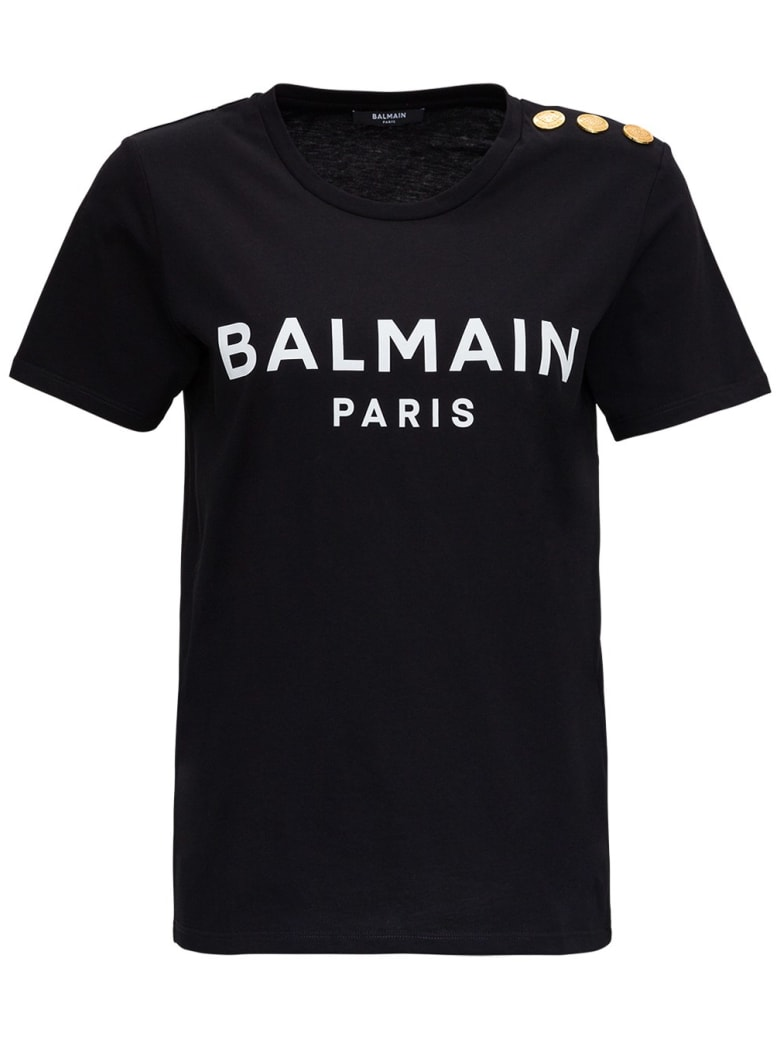 Balmain Jersey Tee With Logo And Embossed Buttons - White/black