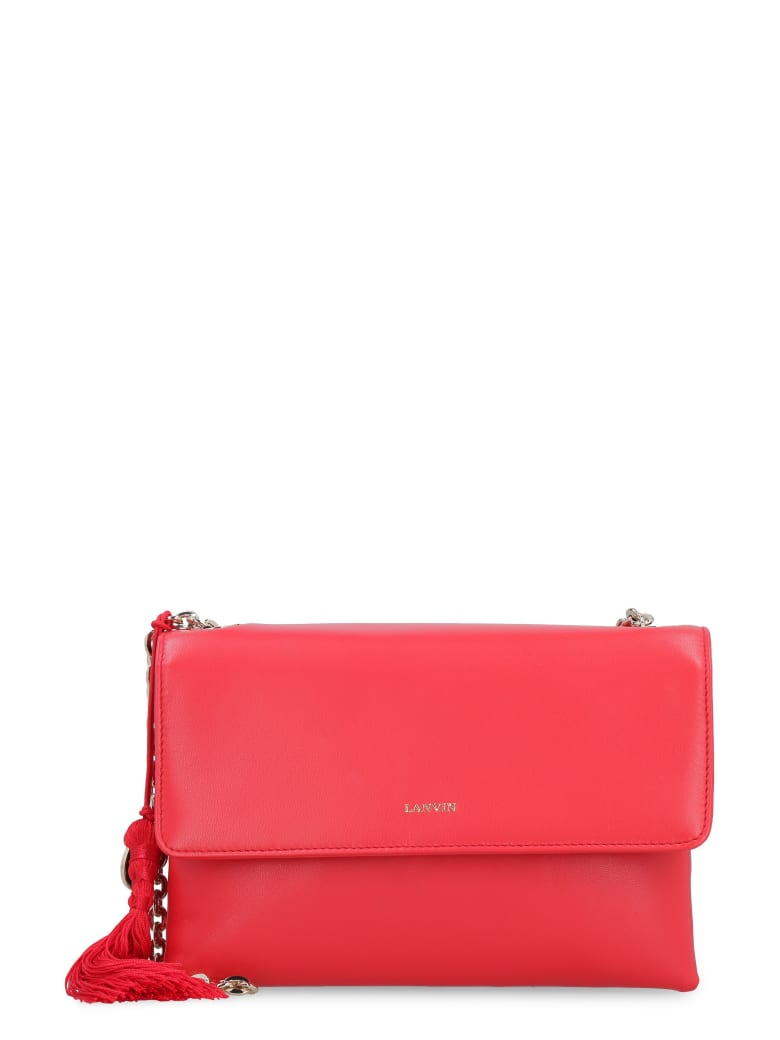Lanvin Sugar Leather Shoulder Bag - red