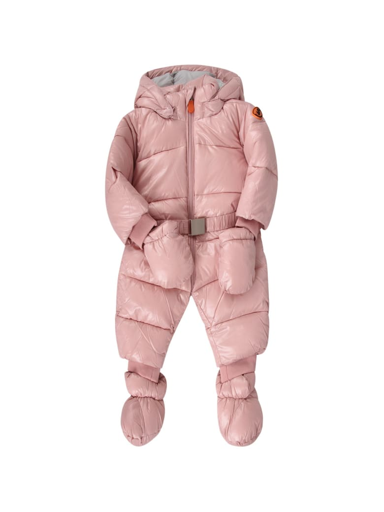 Save the Duck Pink Babygirl Puff Overall With Iconic Logo - Pink
