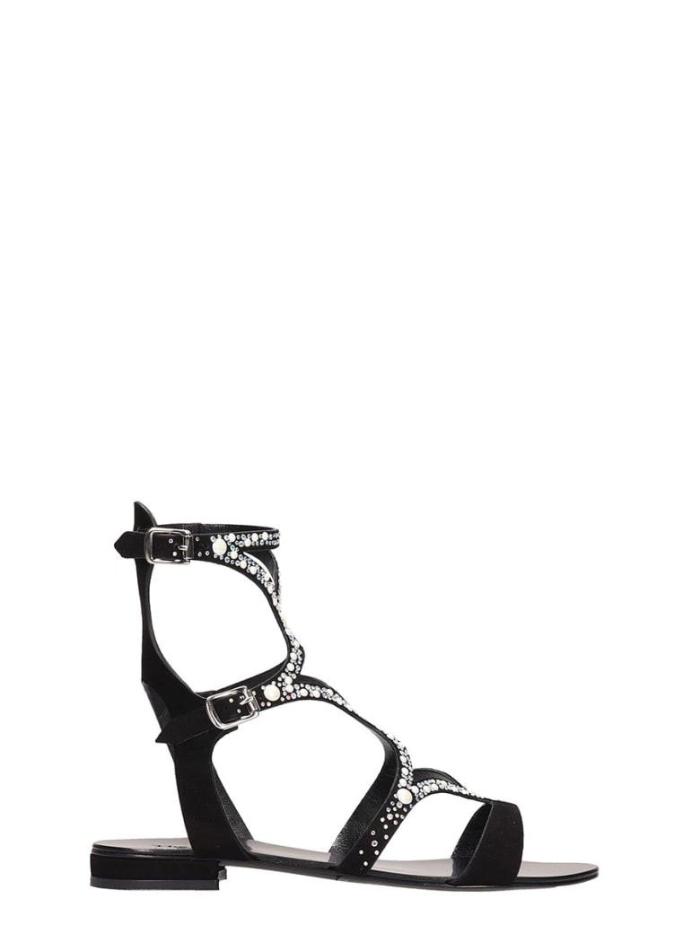 The Seller Black Suede Flat Sandals - black