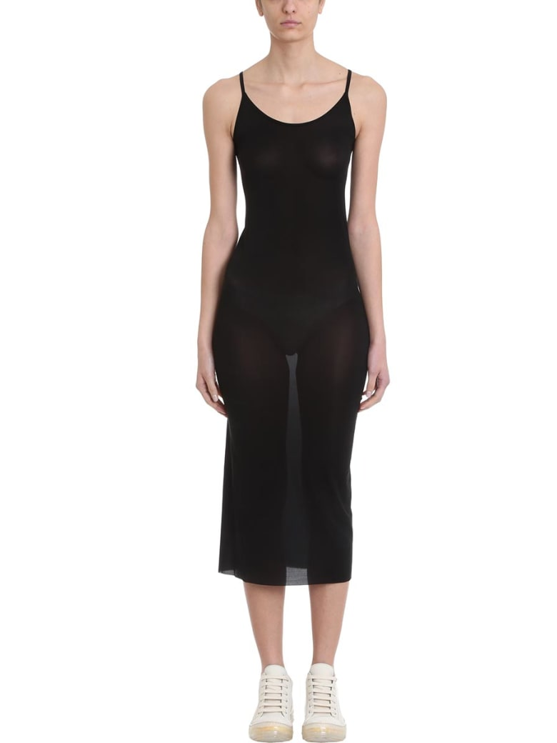 Rick Owens Lilies Black Viscose Slip Dress - black