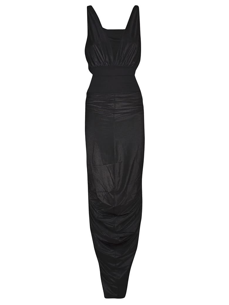 Rick Owens Lilies Deep V-neck Sleeveless Gown Dress - Black