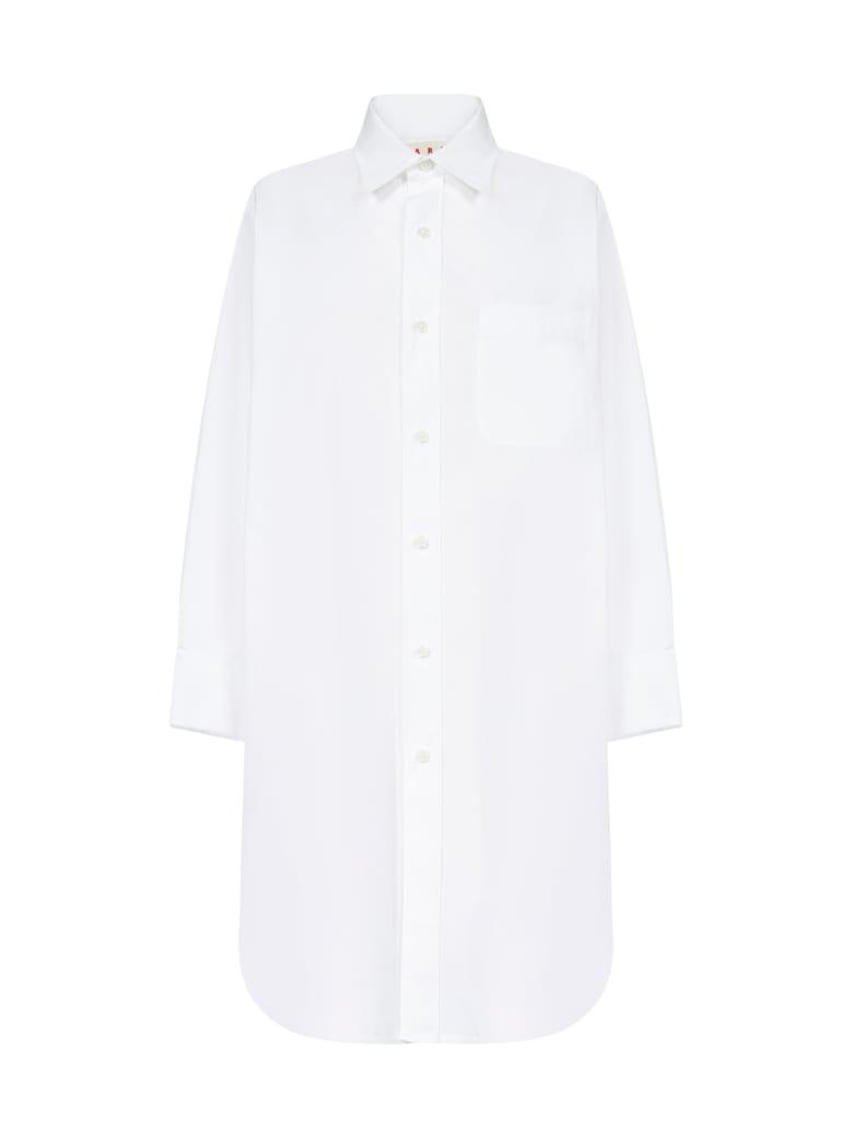Marni Oversized Cotton Shirt Dress - Lily white