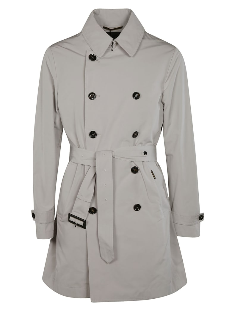 Moorer Double-breasted Belted Trench - Pearl
