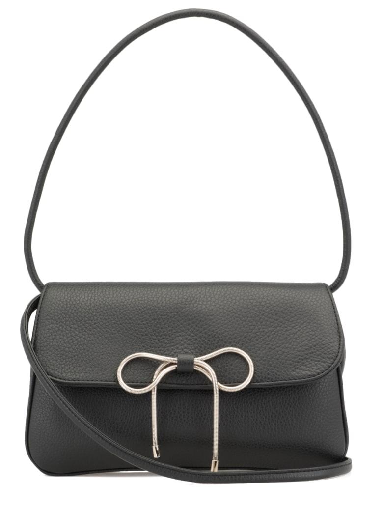 RED Valentino Pebbled Leather Shoulder Bag - Black