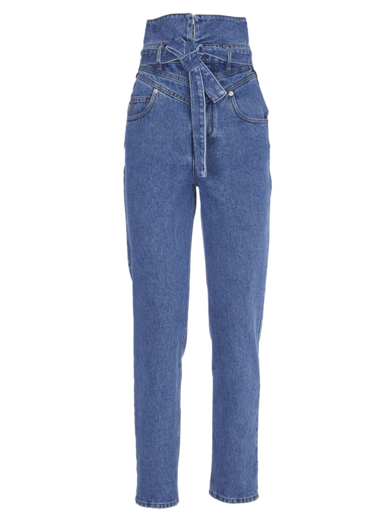 The Attico High-waisted Jeans With Belt - Blu