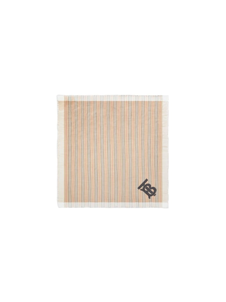 Burberry Mu Tb Hrtg Wool Logo Scarf - Archive Beige