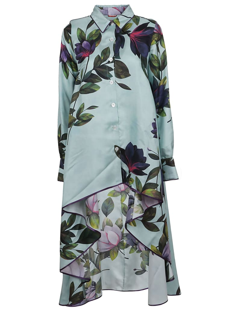 For Restless Sleepers Floral Print Asymmetric Dress - F.do Azzurro