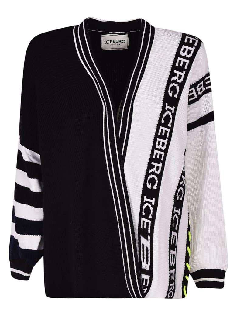 Iceberg Logo Knitted Cardigan - Black/White