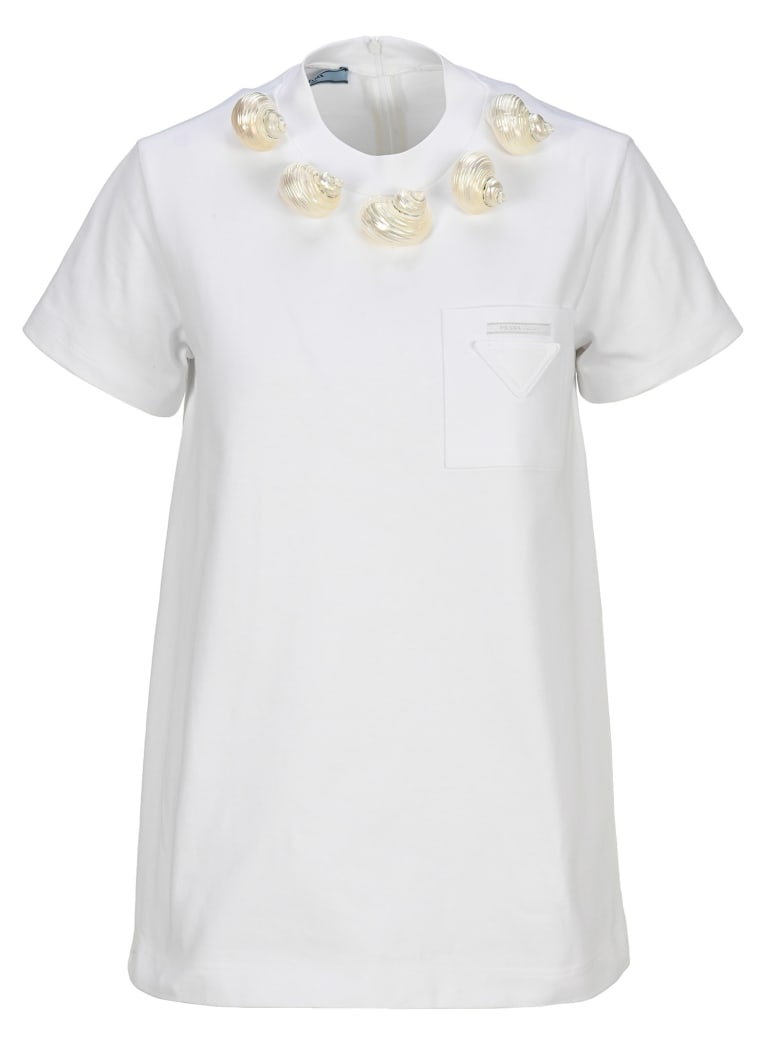 Prada Shell Embellished T-shirt - WHITE