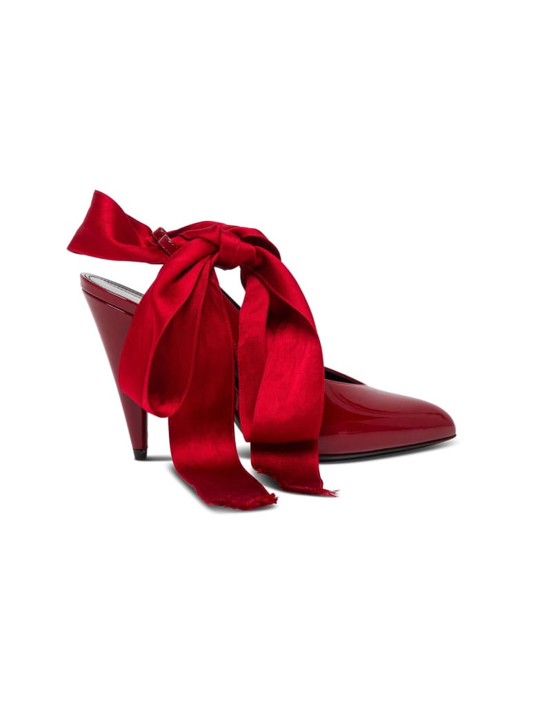 Saint Laurent Venus Pumps In Patent Leather With Satin Bow - Rosso