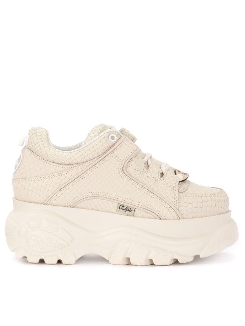 Buffalo 1339 Sneaker In Butter-colored Leather With Python Effect Print - BIANCO