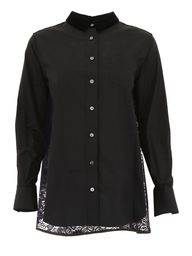 Sacai Shirt With Lace - BLACK NAVY (Black)