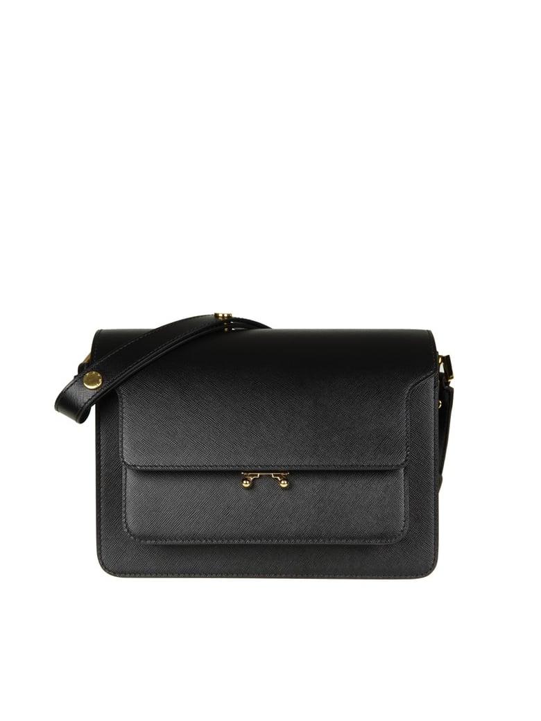 Marni Bag Media Trunk Bag In Black Leather - Black