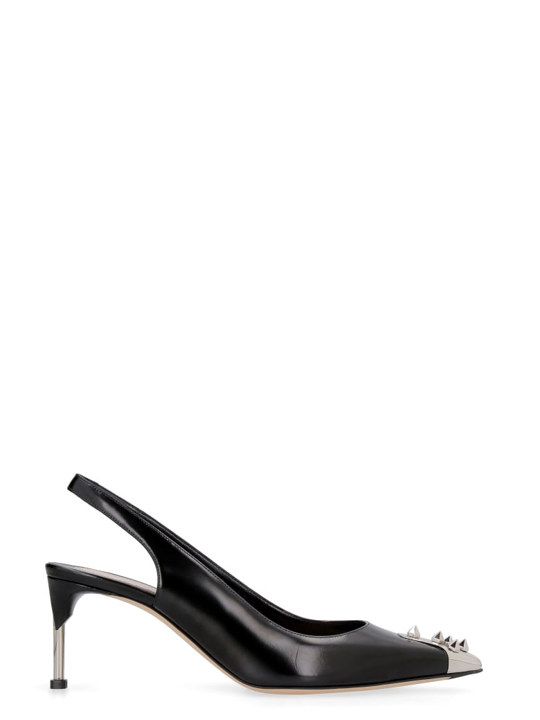 Alexander McQueen Leather Pointy-toe Slingback - black