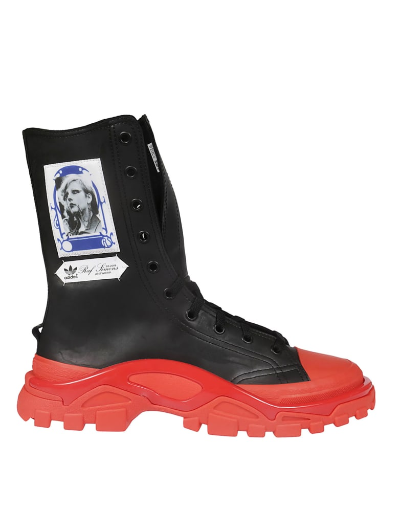 Raf Simons Photographic Print Hi-top Sneakers - Black/Red