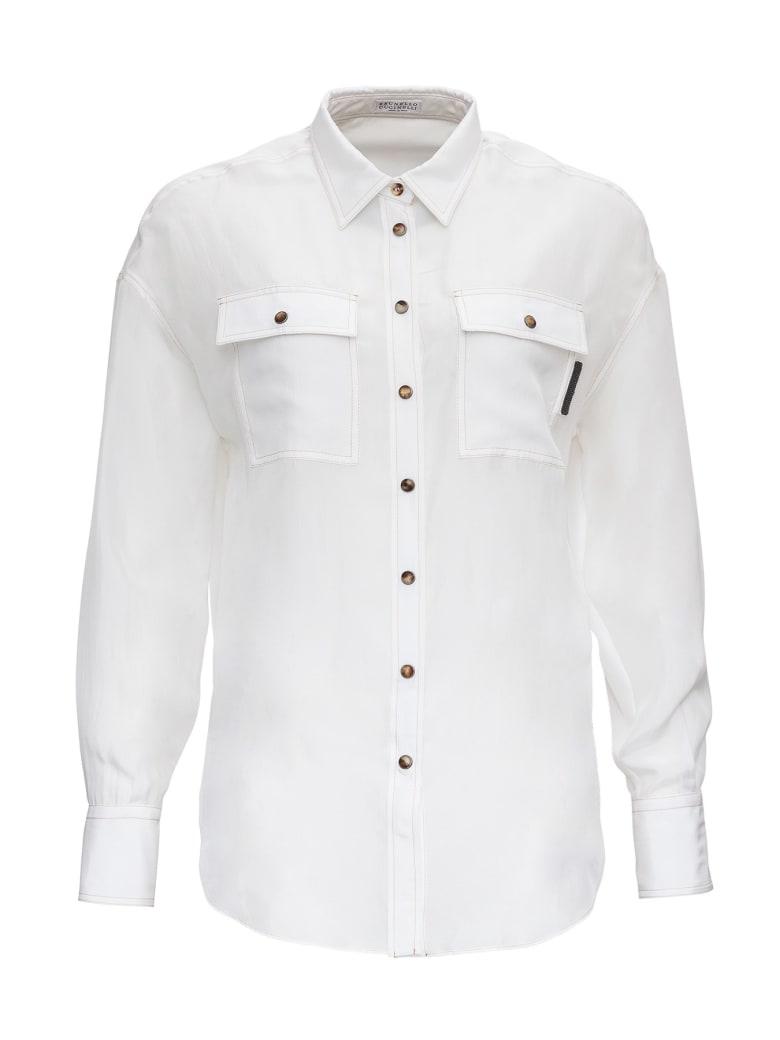 Brunello Cucinelli Silk Shirt With Monile Detail - White