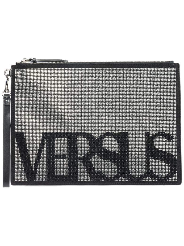 Versus Versace  Leather Clutch Handbag Bag Purse Vintage Logo - Nero
