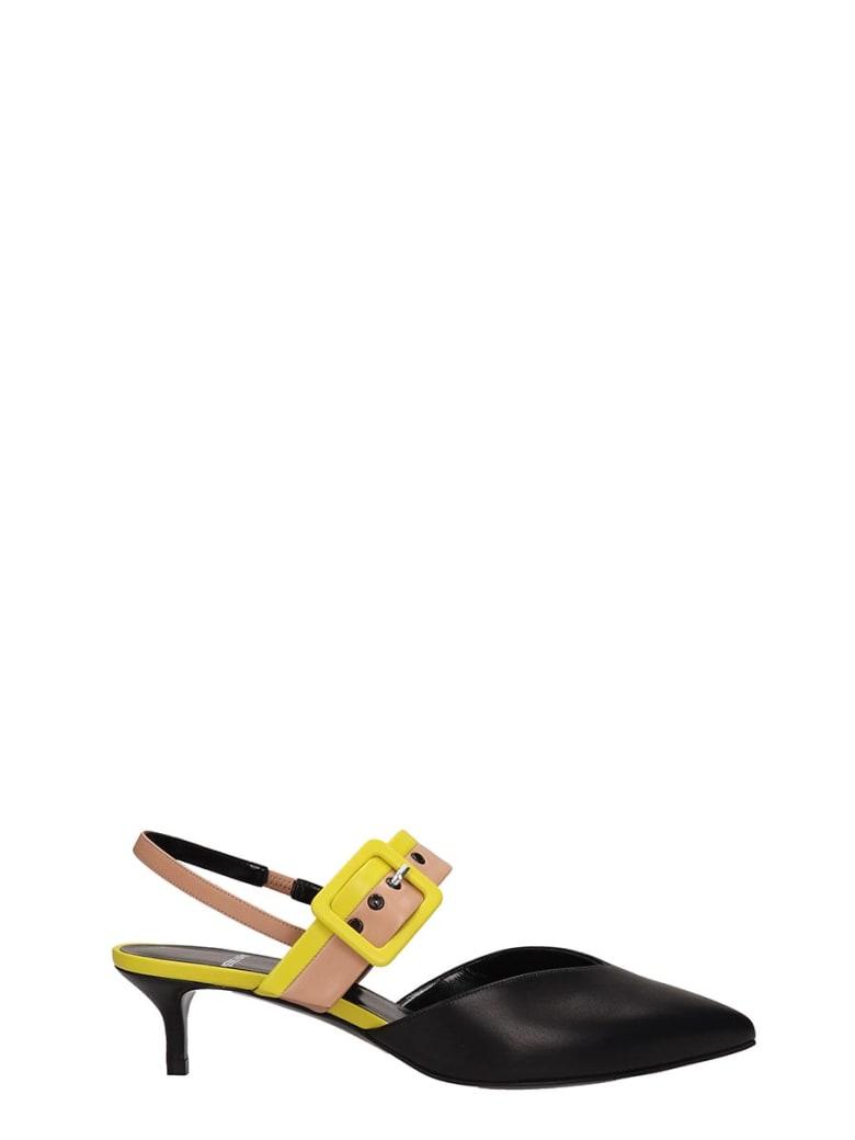 Pierre Hardy Black Leather Alpha Sling Sandals - black