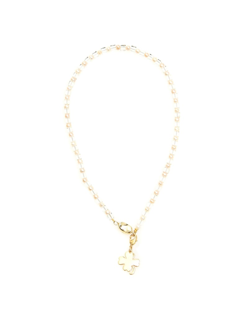 Timeless Pearly Four-leaf Clover Necklace - TRASPARENT (White)